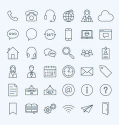 line contact us icons vector image vector image