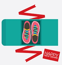 Top View Of Running Shoes Gift vector image vector image