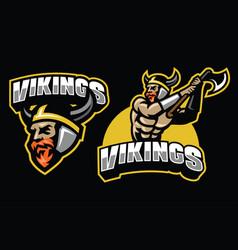 viking warrior mascot set vector image vector image