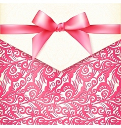 Vintage wedding card template with pink bow vector image vector image