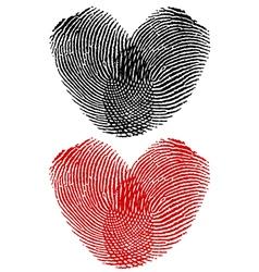 Finger prints in heart shape vector image vector image