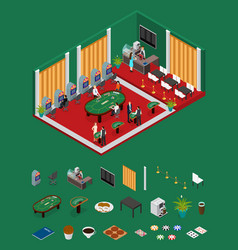 interior casino and parts isometric view vector image