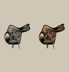 leather equestrian saddle hand drawn vector image vector image