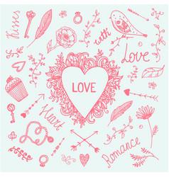 romantic set love vintage vector image