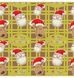 santa deer seamless big redgreen vector image