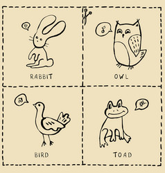 set of cut out cards with cute animals hand drawn vector image vector image
