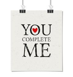 Vintage typographic Valentines Day design poster vector image