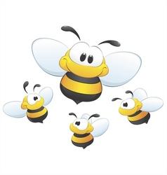 cute cartoon bees vector image vector image