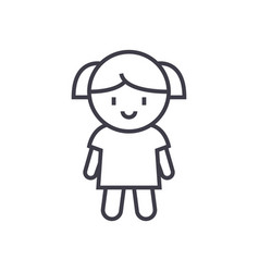 girl doll line icon sign on vector image