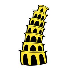 pisa tower icon cartoon vector image