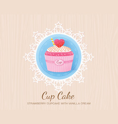 strawberry cupcake with vanilla cream vector image