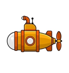 Yellow Submarine with Periscope Icon Flat Style vector image