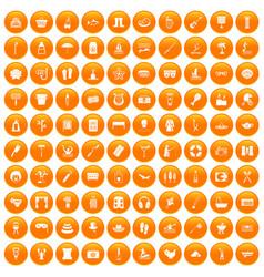 100 recreation icons set orange vector