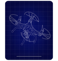 3d quadcopter model on a blue vector image