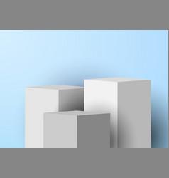 3d realistic white pedestal rectangular box vector image