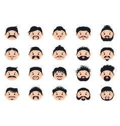 A cartoon men hairstyles set vector