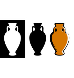amphora image in brown color and silhouettes in vector image