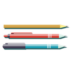 ballpoint pens and pencil with shadow vector image vector image