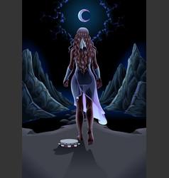 Beautiful girl walking alone in night vector