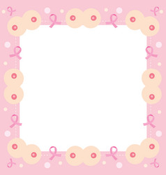 Border decoration with pink ribbon and breast vector