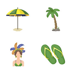 Brazil country umbrella beach brazil country vector