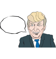 cartoon portrait of donald trump says something vector image