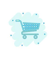Cartoon shopping cart icon in comic style shop vector