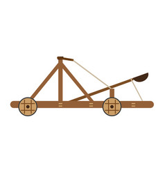 Catapult medieval icon isolated wooden old war vector