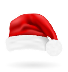 christmas red hat santa claus vector image