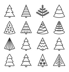 christmas tree icons set on white background vector image