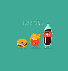 cola french fries and hamburger friends vector image
