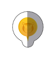 Color sticker with tiger face in circular speech vector