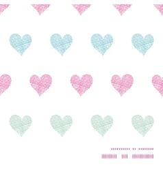 Colorful polka dot textile hearts horizontal frame vector image