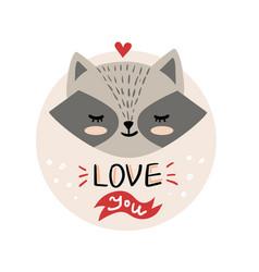 cute cartoon raccoon face vector image