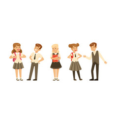 cute school students in uniform with backpacks vector image