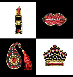 Design for t-shirt with patches with sequins vector