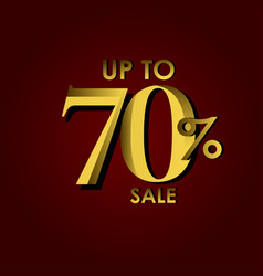 Discount sale label up to 70 red gold template vector