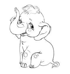 elephant smilingcontour drawing vector image