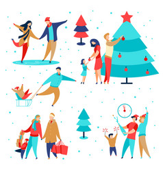 family holidays set2 vector image