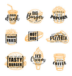 fast food snacks drinks lettering vector image