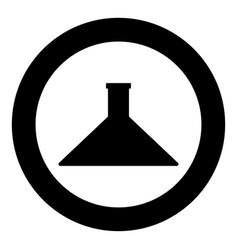 Flask icon black color in circle vector