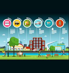 flat design city park with public buildings vector image