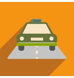 Flat with shadow icon and mobile application taxi vector