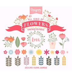 Floral Bundle Icon Set vector