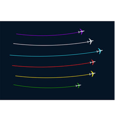 flying colored planes with stripes behind vector image