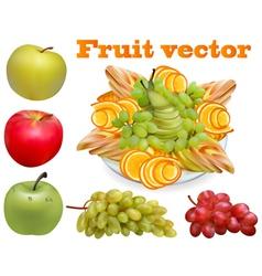 fruit chopped pear grape apple vector image