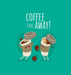funny paper coffee cup with milk and coffee bean vector image
