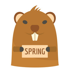 groundhog in spring icon flat style vector image
