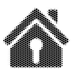 Halftone dot home keyhole icon vector