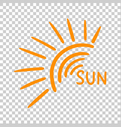 hand drawn sun icon on isolated background vector image
